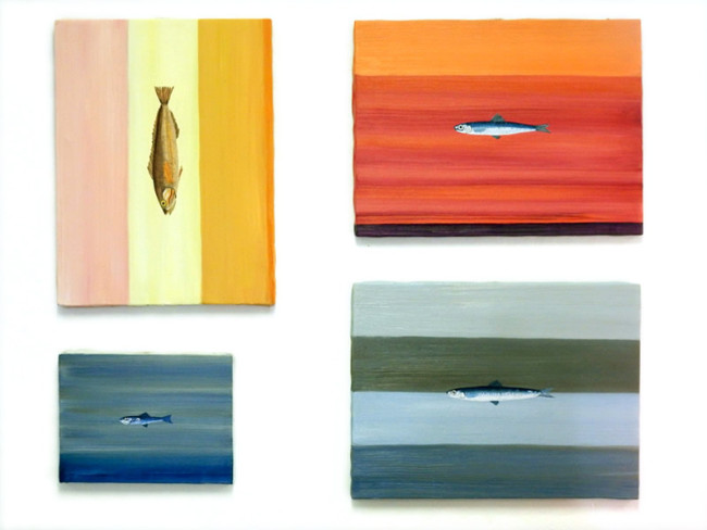 Aimone Sambuy four fish paintings