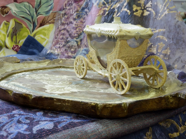 Cinderella carriage on antique tray and fabric