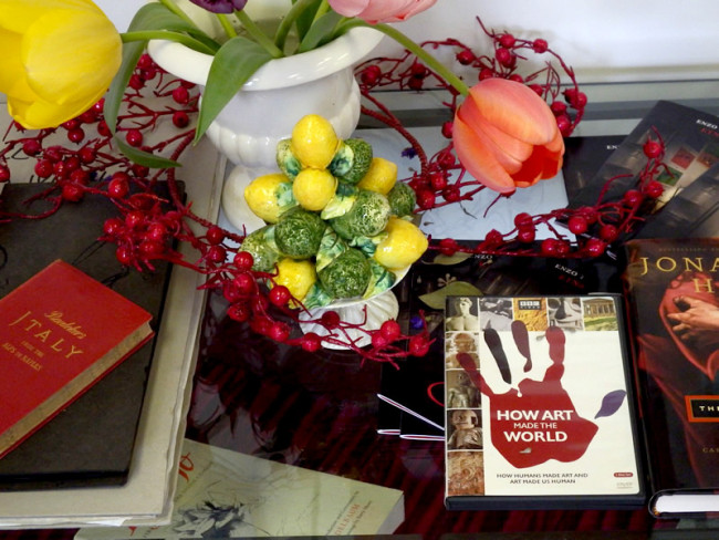 Tulips with ceramic ware, books and DVD